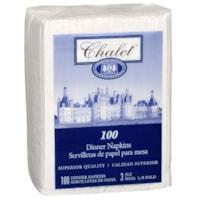 Serviettes de table blanches classiques à 3 épaisseurs Chalet
