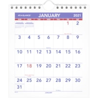 At-A-Glance 12-Month Mini Monthly Wall Calendar With Easel Back, 6 1/2