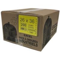 Sacs à ordures Eco II Manufacturing Inc., vert, robuste, 26 po x 36 po, caisse de 200