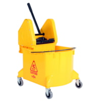 Globe Commercial Products Bucket and Wringer, Yellow, 35-Qt, Down Press