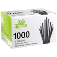 Bâtonnets à café en plastique Café Express, 6 po, boîte de 1 000