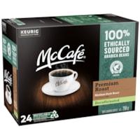 McCafé Premium Coffee K-Cup Pods, Medium Dark Roast, Decaffeinated, 24/BX