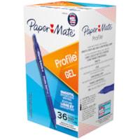 Stylos à encre gel à pointe rétractable Profile Paper Mate, bleu, pointe moyenne de 0,7 mm, boîte de 36