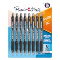 Stylos à encre gel à pointe rétractable Profile Paper Mate, noir, pointe moyenne de 0,7 mm, emb. de 8