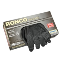 Ronco Nitrile Disposable Examination Gloves, Medium, Black, 100/BX