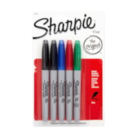 Sharpie Permanent Markers, Assorted Colours, Fine Tip, 5/PK