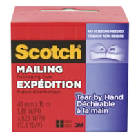 Scotch Tear-By-Hand Mailing Packaging Tape, Clear, 48 mm x 16 m