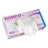 Ronco V2 Vinyl Disposable Gloves, Small, Clear, 100/BX