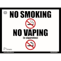 Safety Media Province of Ontario No Smoking, No Vaping Sticker, White, 6