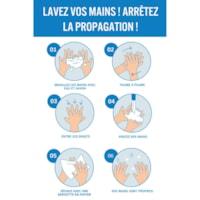 Affiche de distanciation sociale repositionnable en vinyle Sterling, dos adhésif, français, Avis - Lavez vos mains, 12 po x 18 po