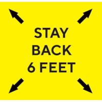 Extensions pour porte-nom de distanciation sociale Sterling, anglais, Stay Back 6 Feet, noir sur fond jaune, 2 3/4 po x 2 3/4 po , emb. de 10