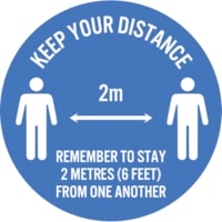 Autocollant de sol de distanciation sociale Sterling, anglais, Keep Your Distance - Remember to Stay 2 Metres From One Another, blanc sur fond bleu, 12 po