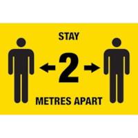 Autocollant de distanciation sociale pour tapis Sterling, anglais, Stay 2 Metres Apart, noir sur fond jaune, 12 po x 18 po