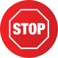 Sterling Social Distancing Floor Decal, English, Stop Sign, White on Red, 12