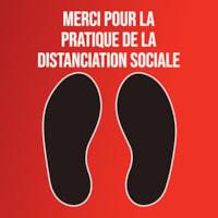 Autocollant de sol de distanciation sociale Sterling, français, Merci pour la pratique de la distanciation sociale, noir et blanc sur fond rouge, 12 po x 12 po