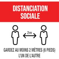 Autocollant de distanciation sociale pour tapis Sterling, français, Distanciation sociale - Gardez au moins 2 mètres (6 pieds) l'un de l'autre, noir et blanc sur fond rouge, 12 po x 12 po