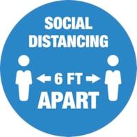 Autocollant de sol de distanciation sociale Sterling, anglais, Social Distancing 6 FT Apart, blanc sur fond bleu, 12 po