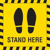 Sterling Social Distancing Floor Decal, , English, Shoe Imprint with Stand Here, Black on Yellow, 12