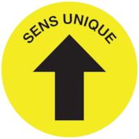 Autocollant circulaire de distanciation sociale pour tapis Sterling, français, Sens unique avec flèche, noir sur fond jaune, 12 po