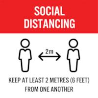 Autocollant de sol de distanciation sociale Sterling, anglais, Keep At Least 2 Metres From One Another, noir et blanc sur fond rouge et blanc, 12 po x 12 po
