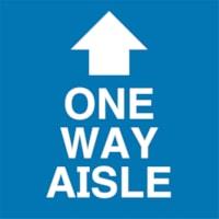 Autocollant de distanciation sociale pour tapis Sterling, anglais, One Way Aisle avec flèche, blanc sur fond bleu, 12 po x 12 po