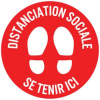 Autocollant circulaire de distanciation sociale pour tapis Sterling, français, Distanciation Sociale - Restez ici, blanc sur fond rouge, 12 po