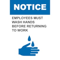 Affiche de distanciation sociale en plastique de faible épaisseur Sterling, anglais, Notice - Employees Must Wash Hands Before Returning To Work, 12 po x 18 po