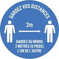 Autocollant de sol de distanciation sociale Sterling, français, Gardez vos distances - Gardez au moins 2 mètres (6 pieds) l'un de l'autre, blanc sur fond bleu, 12 po