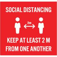 Extensions pour porte-nom de distanciation sociale Sterling, anglais, Social Distancing, blanc sur fond rouge, 2 3/4 po x 2 3/4 po , emb. de 10