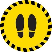 Autocollant de sol de distanciation sociale Sterling, paire de pieds, noir sur fond jaune, 12 po