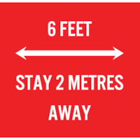 Extensions pour porte-nom de distanciation sociale Sterling, anglais, 6 Feet - Stay 2 Metres Away, blanc sur fond rouge, 2 3/4 po x 2 3/4 po , emb. de 10