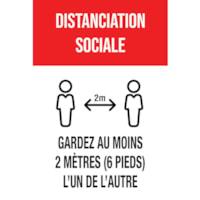 Affiche de distanciation sociale repositionnable en vinyle Sterling, dos adhésif, français, Distanciation sociale, 12 po x 18 po