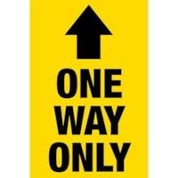 Autocollant de distanciation sociale pour tapis Sterling, anglais, One Way Only, noir sur fond jaune, 12 po x 18 po
