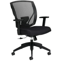 Offices To Go Ibex Mid-Back Tilter Chair, Black Quilt Fabric Seat/Mesh Back