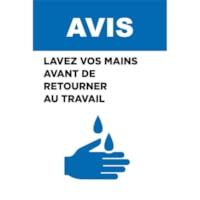 Affiche de distanciation sociale repositionnable en vinyle Sterling, pour le verre, face avant adhésive, français, Avis - Lavez vos mains avant de retourner au travail, noir, bleu et blanc, 12 po x 18 po