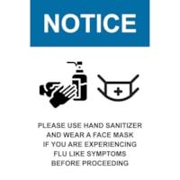 Affiche de distanciation sociale repositionnable en vinyle Sterling, pour le verre, face avant adhésive, anglais, Notice - Please Use Hand Sanitizer and Wear a Face Mask, noir, bleu et blanc, 12 po x 18 po