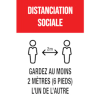 Autocollant de distanciation sociale pour tapis Sterling, français, Distanciation sociale - Gardez au moins 2 mètres (6 pieds) l'un de l'autre, noir et blanc sur fond rouge, 12 po x 18 po