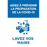 Affiche de distanciation sociale repositionnable en vinyle Sterling, dos adhésif, français, Aidez à prévenir la propagation de la Covid-19, bleu et blanc, 12 po x 18 po