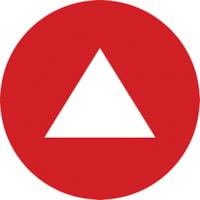 Autocollants circulaires de distanciation sociale pour tapis Sterling, anglais, flèche blanche sur fond rouge, 12 po