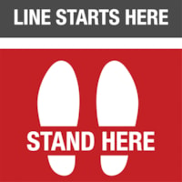 Sterling Social Distancing Floor Decal, English, Line Starts Here - Stand Here, Black/Red/White, 12