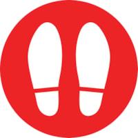 Autocollant de sol de distanciation sociale Sterling, anglais, paire de pieds, blanc sur fond rouge, 12 po