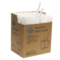 Pailles en papier biodégradable Earth Hugger emballées individuellement, blanc, emb. de 400