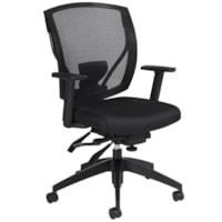 Offices To Go Ibex Mid-Back Multi-Tilter Ergonomic Chair, Ebony Black Jenny Fabric Seat/Mesh Back