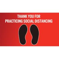 Autocollant de distanciation sociale pour tapis Sterling, anglais, Thank You For Practicing Social Distance, noir et blanc sur fond rouge, 12 po x 18 po