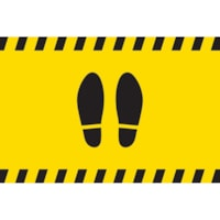 Autocollant de distanciation sociale pour tapis Sterling, paire de pieds, noir sur fond jaune, 12 po x 18 po