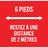 Extensions pour porte-nom de distanciation sociale Sterling, français, 6 pieds, blanc sur fond rouge, 2 3/4 po x 2 3/4 po , emb. de 10