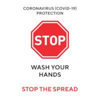 Affiche de distanciation sociale repositionnable en vinyle Sterling, dos adhésif, anglais, Stop - Wash Your Hands, noir, rouge et blanc, 12 po x 18 po