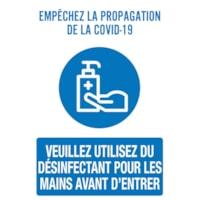 Affiche de distanciation sociale repositionnable en vinyle Sterling, dos adhésif, français, Empêchez la propagation de la Covid-19, 12 po x 18 po