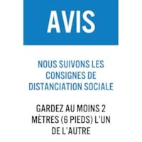 Affiche de distanciation sociale en plastique de faible épaisseur Sterling, français, Avis - Nous suivons les consignes de distanciation sociale, bleu, blanc et noir, 12 po x 18 po