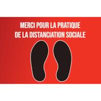 Autocollant de distanciation sociale pour tapis Sterling, français, Merci pour la pratique de la distanciation sociale, noir et blanc sur fond rouge, 12 po x 18 po